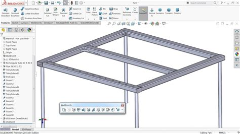 tutorial solidworks weldments solidworks tutorial basic of weldments youtube