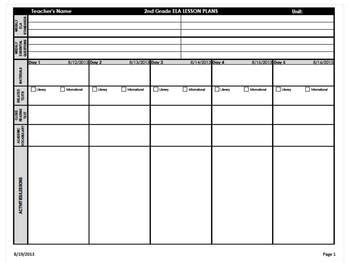 common ela lesson plan template 2nd grade common weekly lesson plan template ela