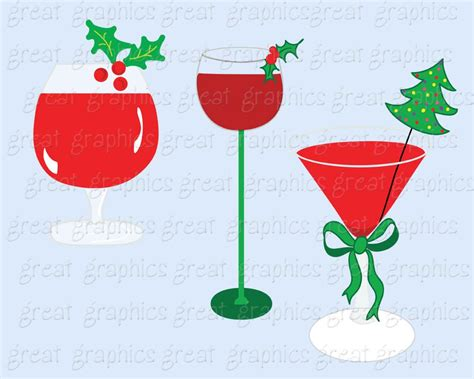 holiday cocktails clipart christmas clipart drink clipart digital christmas