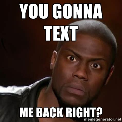 you gonna text me back right kevin hart nigga meme
