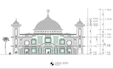 panduan bangunan rumah gambar design masjid besar 2d