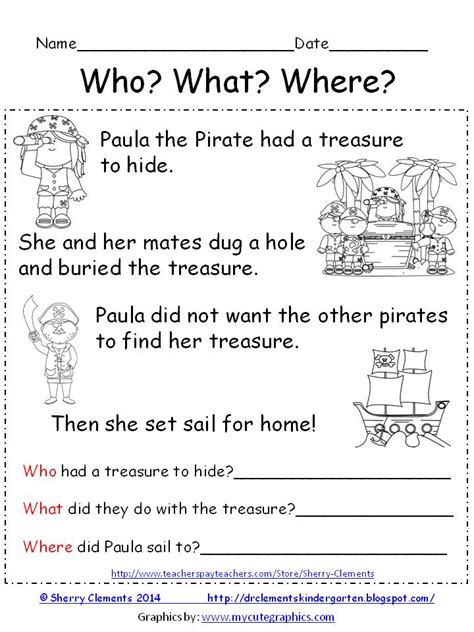reading comprehension test narrative freebie reading comprehension who what where paula