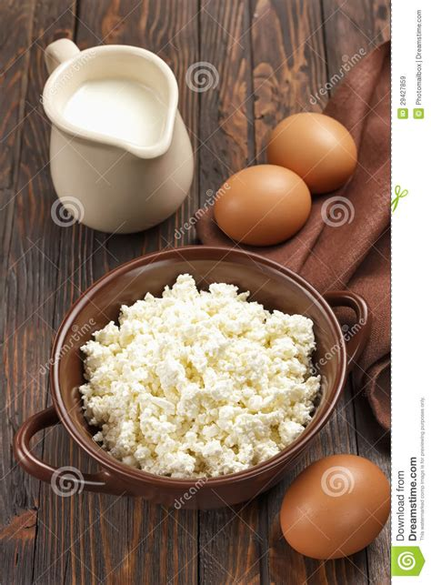 Cottage Cheese Eggs by Cottage Cheese Milk And Eggs Royalty Free Stock Images