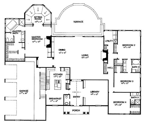 4 bedroom ranch floor plans house plans 4 bedroom ranch