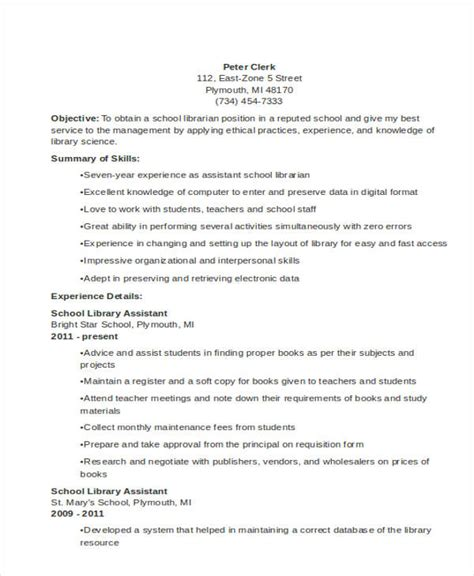 Resume Template Librarian by 9 Librarian Resume Templates Free Sle Exle