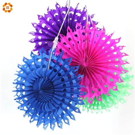 Snowflake Paper Fan 10 5pcs lot 8 20cm snowflake tissue hollow paper fans pinweels hanging for birthday