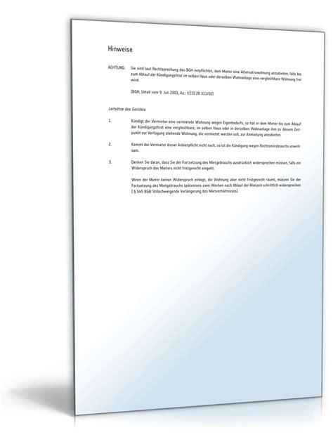 Musterbrief K Ndigung Wohnung Vermieter k 252 ndigung mietvertrag eigenbedarf muster zum