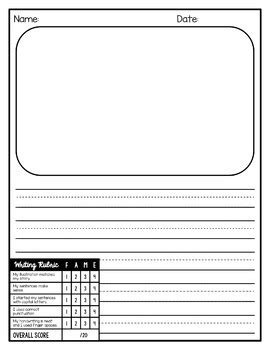 writing paper with picture box writing paper with rubric and picture box editable by