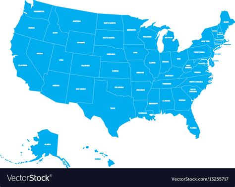 united states of america map with state names map of united states of america with state names vector image