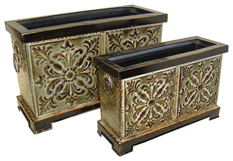 indoor decorative planters cheungs home decorative set of 2 rectangular metal planter pot mediterranean indoor pots