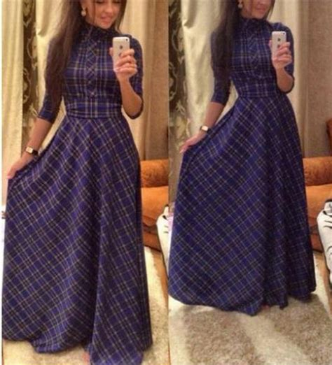 Tartan Maxi Longdress dresses for to the floor length plaid maxi
