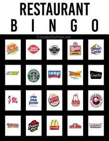 restaurant bingo everyday shortcuts