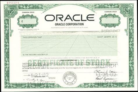 oracle corporation stock certificate specimen archives