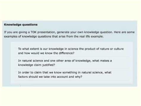 What Is A Tok Knowledge Question Youtube Exles Of Tok Presentations