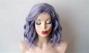 salt and pepper hair with lilac tips pastel wig dark lavender gray hair wig short beach wave