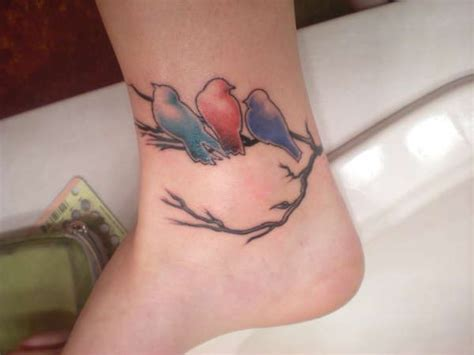birds on a branch tattoo colourful birds on a branch