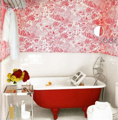 red bathtub when to incorporate red in a bathroom