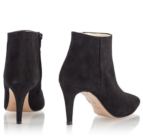 mario giordano black suede leather pointy mid heel ankle