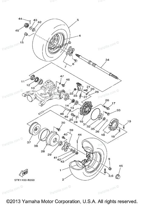 yamaha kodiak parts diagram yamaha atv parts 2003 kodiak 400 4wd yfm400far rear