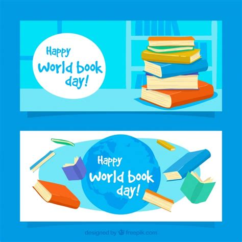 for colored book world book day banners with colored books vector free