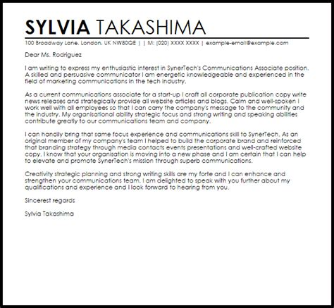Communications Associate Cover Letter by Communications Associate Cover Letter Sle Livecareer