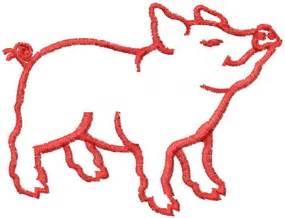 Pig Outline Embroidery Designs concord collections embroidery design pig outline 2 28 inches h x 2 99 inches w