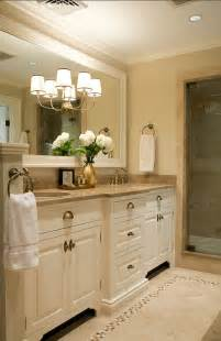 Master Bathroom Vanity Ideas by Cream Cabinets And Large Framed Mirror Pretty Hardware As