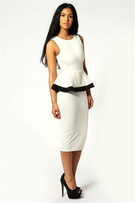 boohoo contrast trim peplum detail midi dress ebay