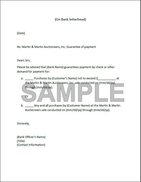 Letter Of Guarantee Insurance Sle Registration Overview Martin Martin Auctioneers Inc
