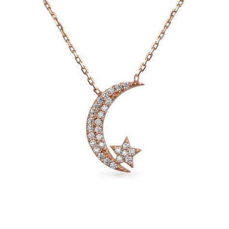 925 silver cz crescent moon pendant necklace