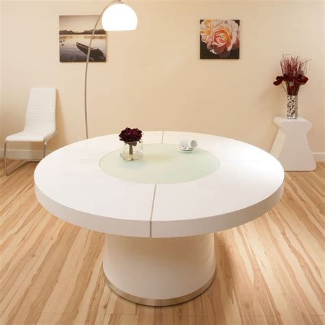 Large White Dining Table Large White Gloss Dining Table Glass Lazy Susan Led Lighting 1 6 Ebay