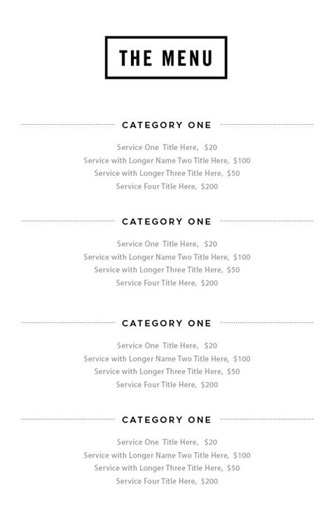 salon service menu template 10 best images about salon merchandising on