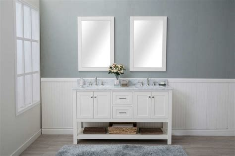 2 Sink Bathroom Vanity White Shaker 48 Quot Bathroom Vanity 2 Drawers 2 Sinks Open Shelf W Marble Top