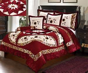 Rustic Comforter Set Tache 4 6 Pc Floral Red Cream Festive North Star Velvety
