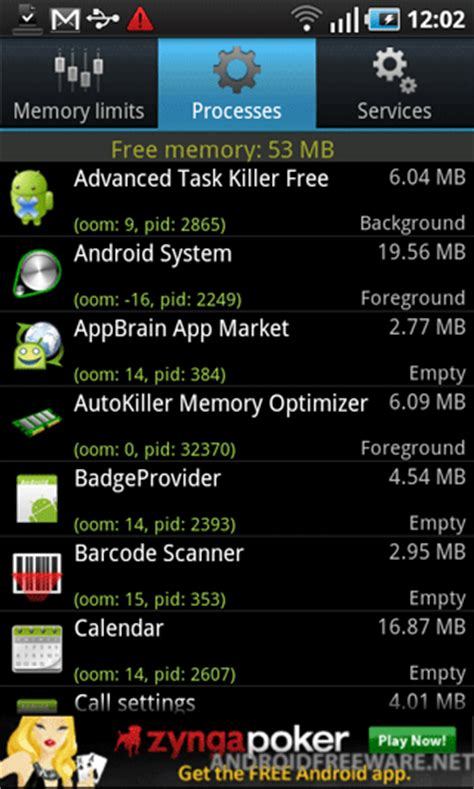 android system memory autokiller memory optimizer free app android freeware