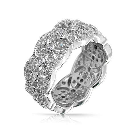 Sterling Silver CZ Vintage Leaf Band Ring