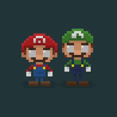 pixelated mario characters famous characters in pixel art mario and luigi