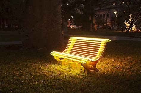 bench lights street l yellow bench robotspacebrain