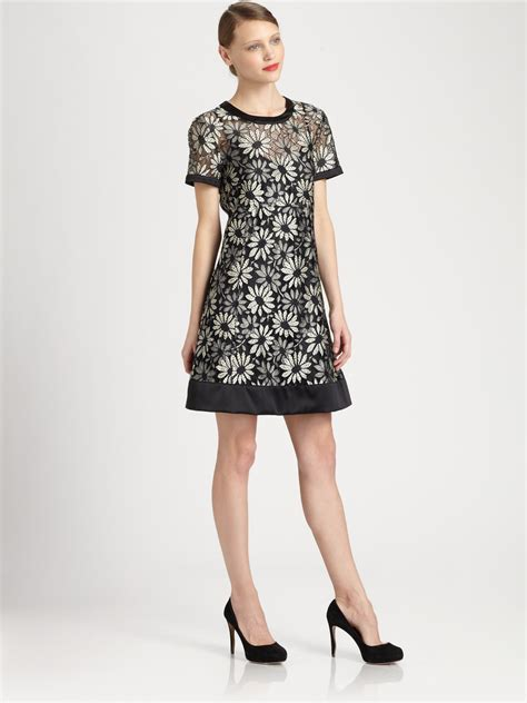 Black Lace Dress 219913 lyst marc by marc lace dress in black