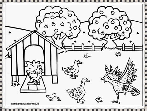 gambar mewarnai ayam farm coloring pages farm animal