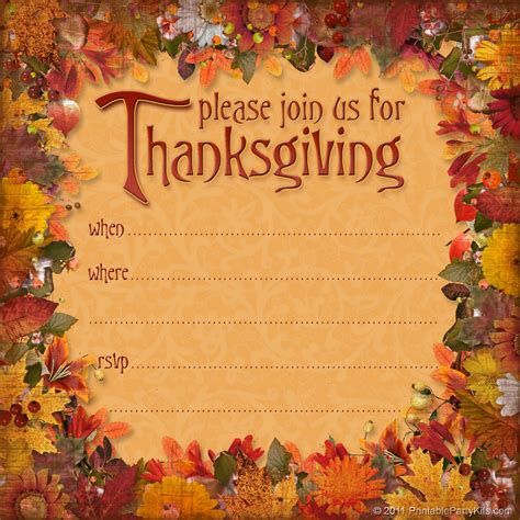 free printable party invitations free thanksgiving dinner