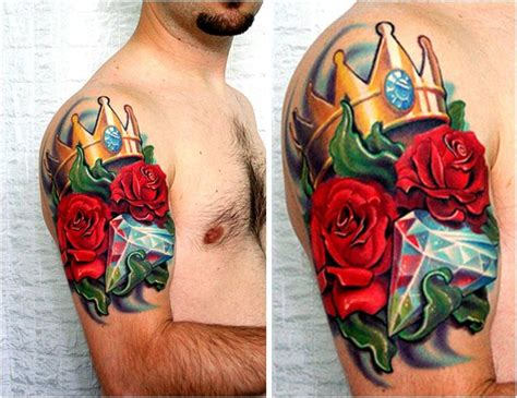 rose tattoos in color trend styles spesific colors meaning