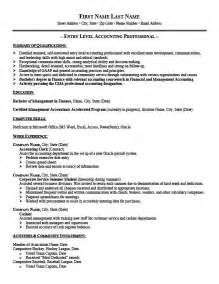 How To Write A Entry Level Resume by Entry Level Staff Accountant Resume Exles Template Design