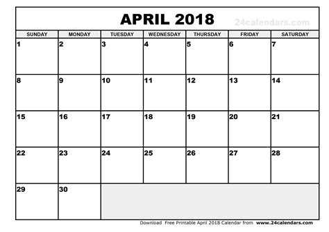 printable calendar by month 2018 printable monthly calendar april 2018 journalingsage com
