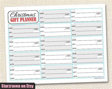 gift organizer printable gift planner pages tips