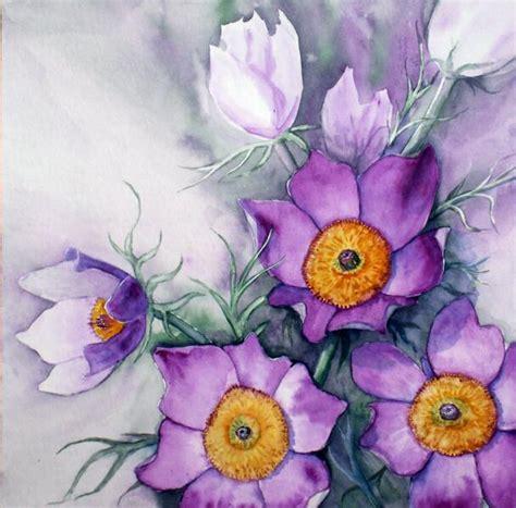 blumen und garten 2473 kuhschelle kuhschelle blumen aquarellmalerei aquarell