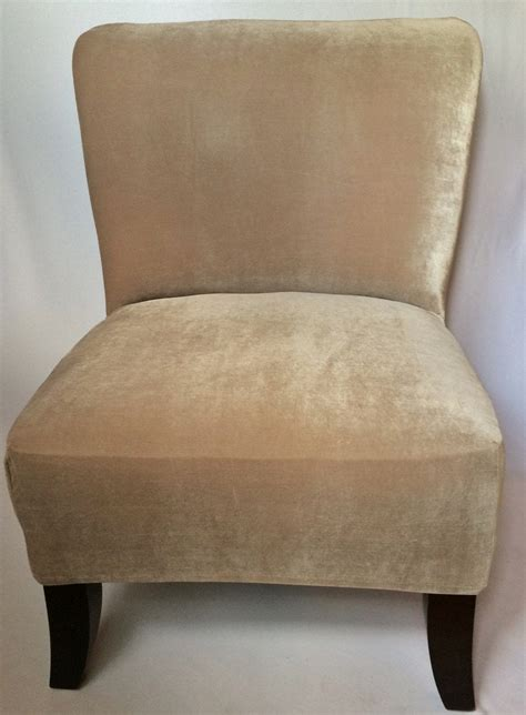 Chair Slipcovers - slipcover beige velvet stretch chair cover for armless chair