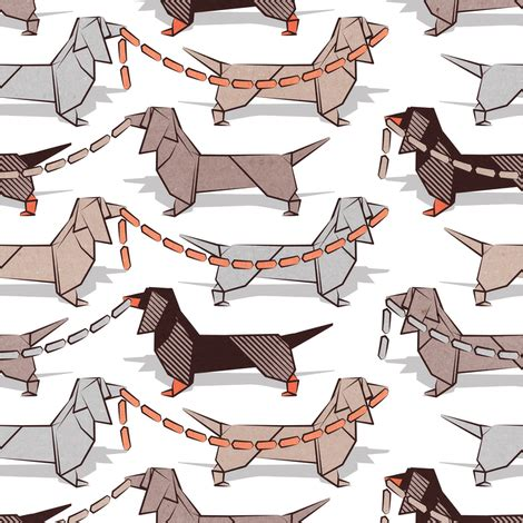 Origami Sausage - origami dachshunds sausage dogs small scale white
