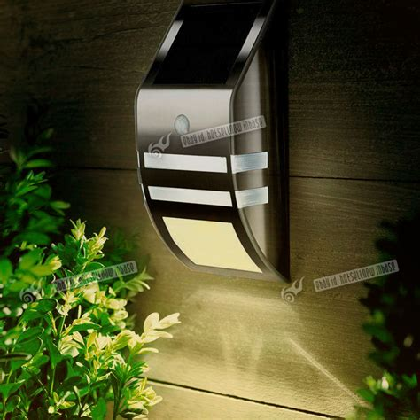 solar front door light 2 led solar power rechargeable pir motion sensor security