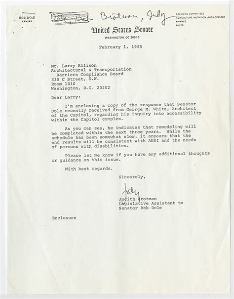 Endorsement Letter For Dole Ada At The Dole Archives